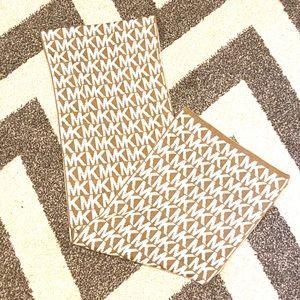 Michael Kors logo scarf tan and white